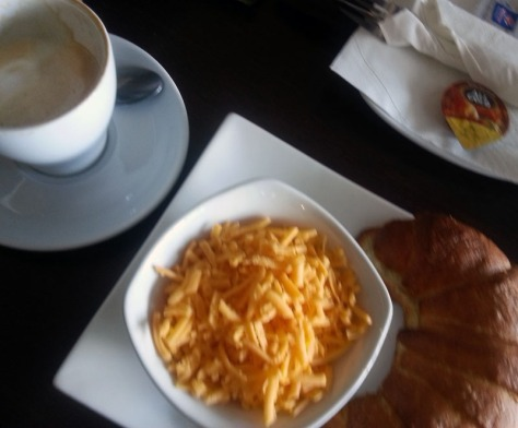 Croissant and cappuccino at Foodlover's Market