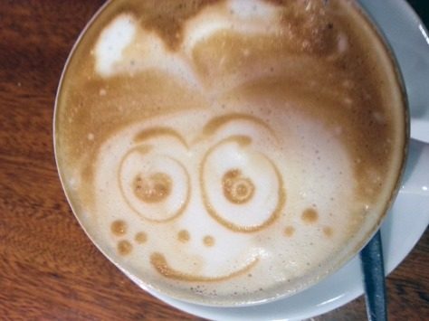 Foam art in cappuccino at Raith's German deli