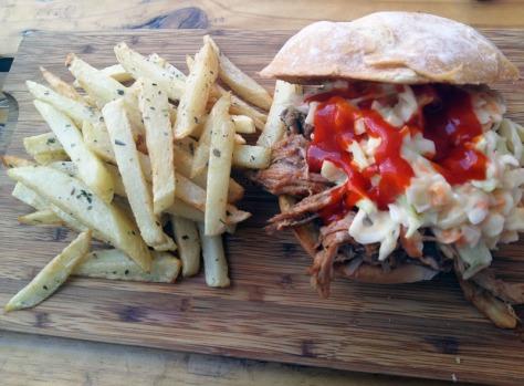 Pulled pork burger at Pitmasters