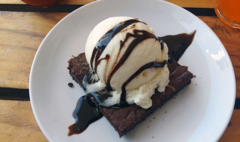 Salted caramel brownie at Pitmasters