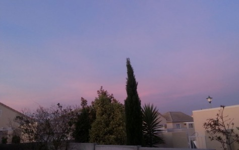 Pink sky at sunset