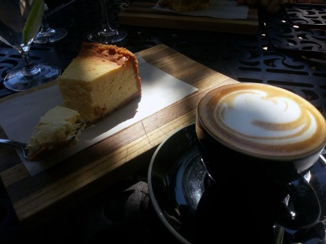 NY-style cheesecake and cappuccino at La Belle