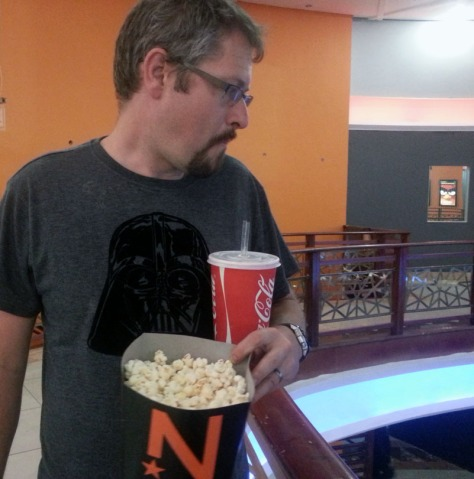 Wearing his Darth Vader shirt at Nu Metro cinema.