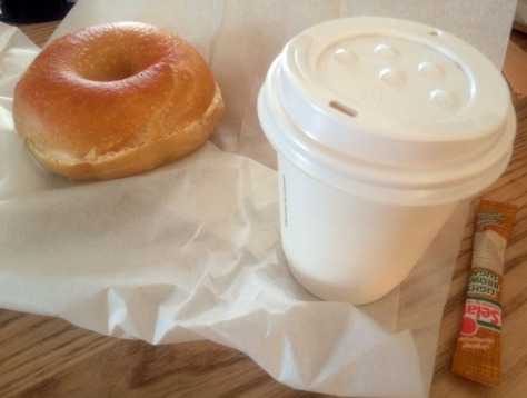 Bagel and flat white from NY Bagel