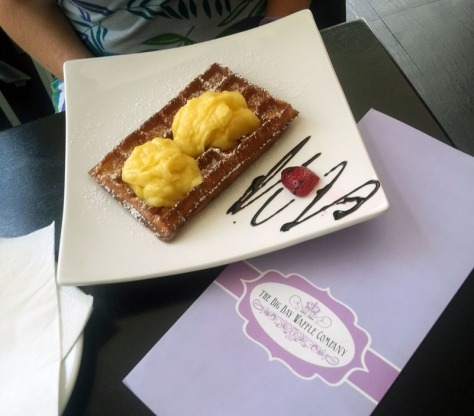 Waffle with lemon curd from the Big Bay Waffle Company.