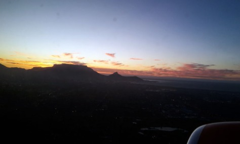 Cape Town at sunset from Mango plane