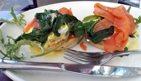 Salmon eggs benedict at Company's garden