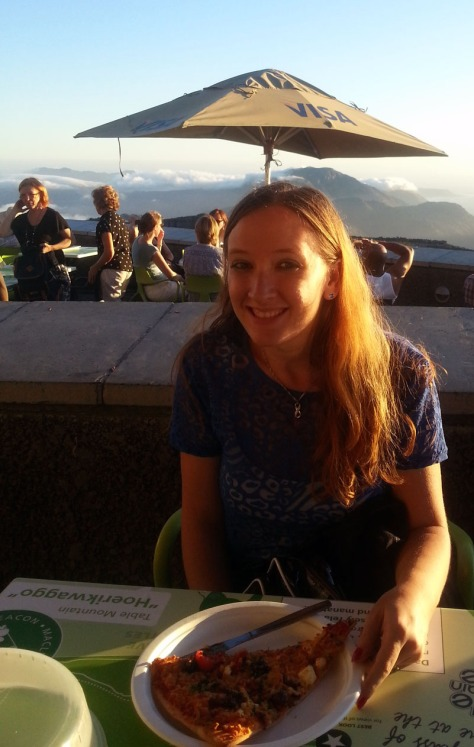 Eating in top of Table Mountain